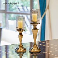 创意欧式家居奢华金属玻璃餐桌复古烛台摆件美式客厅餐厅软装饰品