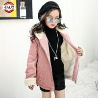 儿童秋冬季羊羔绒外套2018韩版洋气厚款灯芯绒大衣外套女