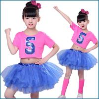 儿童啦啦操演出服蓬蓬裙舞蹈演出服爵士亮片公主舞足球服 枚红色《女》 100cm
