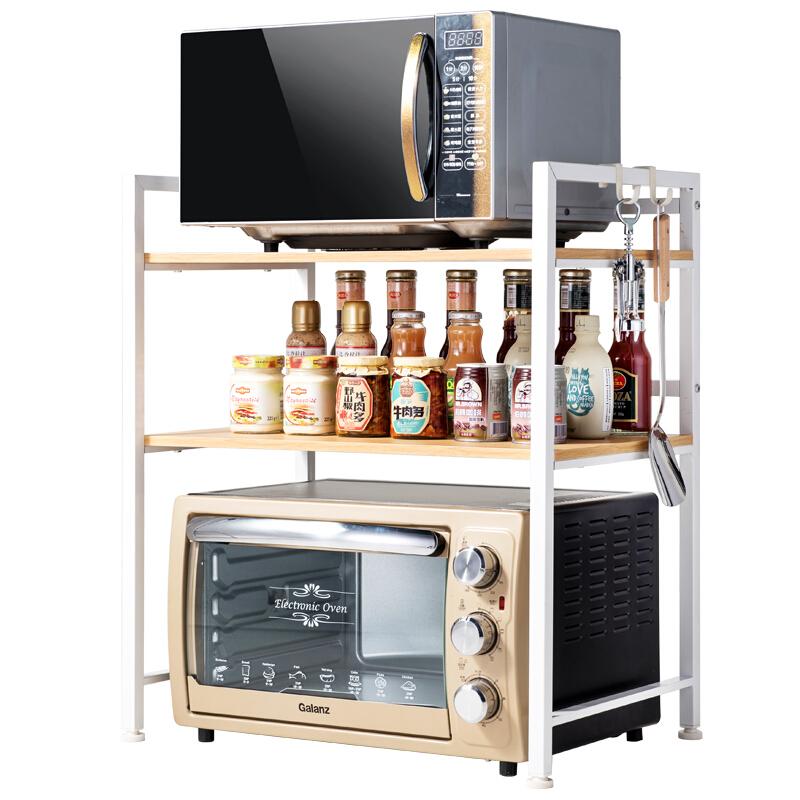 厨房置物架 微波炉架 烤箱架 厨房用品收纳架 加粗金属双层调料架碗碟架 168459X (木层板)加宽三层 象牙白