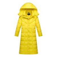 加长款羽绒服女过膝加厚可脱卸帽超长冬装大码显瘦白鸭绒外套