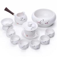 陶瓷整套功夫茶具日式侧把壶定窑茶器套装亚光白瓷礼盒装