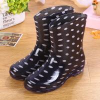 时尚雨鞋女短筒水靴厨房可爱防滑防水鞋雨靴胶鞋套鞋夏季 黑色 偏小1码
