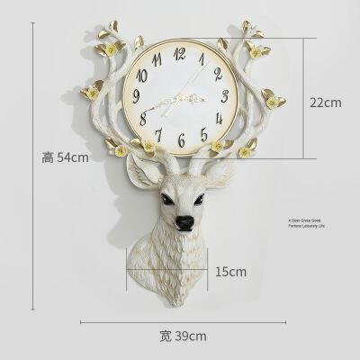 北欧装饰鹿头挂钟客厅个性创意时尚电子钟表家用艺术现代简约大气  其他