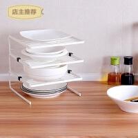 厨房用品碗盘储物收纳架三层餐盘碗碟架沥水整理置物架SN3639 米白色