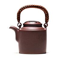宜兴紫砂壶家用泡茶壶原矿纯全手工紫泥牛盖洋桶壶250毫升