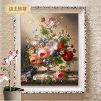 蒙娜丽莎印花十字绣新款客厅线绣简约现代小幅花卉卧室油画花瓶SN4985