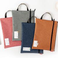 手提包文件袋拉链a4小学生分类科目袋收纳资料袋定制帆布办公男女