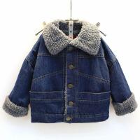 冬男童加厚牛仔棉袄外套羊羔绒中大儿童保暖棉衣女童韩版夹克宝宝 蓝色 23688加绒牛仔