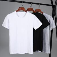 3件装】冰瓷棉纯棉短袖t恤新款圆领宽松衣服夏季潮流白半袖�B大码体恤男装T170