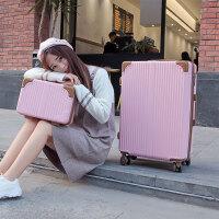 行李箱�f向�24寸28寸拉�U箱女�n版�凸糯笕萘�20寸登�C箱母子男旅行箱 粉色母子套 28寸