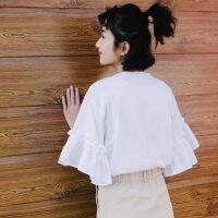 欧美女装字母短袖t恤女2019夏季新款甜美棉字母印花荷叶边喇叭短袖圆领T恤女