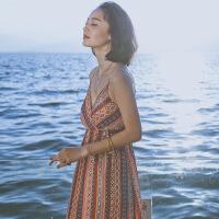 【好货推荐】 新款夏季新款女装吊带裙子复古雪纺长裙连衣裙超仙海边度假沙滩裙 图片色 XZ16C518