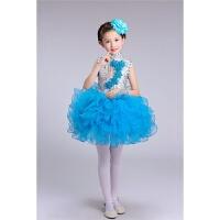 六一儿童演出服装幼儿园中小学生大合唱男童女童舞蹈表演服装蓝色 天蓝色亮片蓬蓬裙 100cm