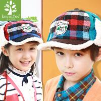 韩国kk树男女儿童帽子秋冬宝宝护耳保暖鸭舌帽绒棒球帽
