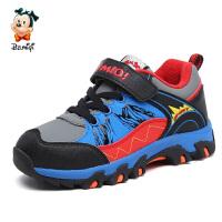 开心米奇童鞋冬季新款男童鞋户外登山鞋二棉保暖中大童防滑运动鞋