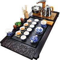 实木茶盘功夫茶具套装家用整套紫砂冰裂陶瓷四合一体电磁炉
