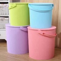 手式可坐人多用储物桶塑料号带盖玩具收纳桶洗澡凳钓鱼水桶车用清洁桶用品生活浴室品 收纳桶