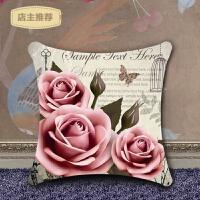 家用新款十字绣抱枕 客厅沙发靠枕玫瑰花卉印花抱枕系列SN0665 3D版生态棉玫瑰(单面抱枕仅绣玫瑰)