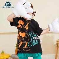 迷你巴拉巴拉女童短袖T恤米奇IP款2020夏装迪士尼联名儿童长款T恤