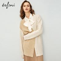伊芙丽针织开衫女2020新款春装韩版复古绞花上衣宽松拼接毛衣外套