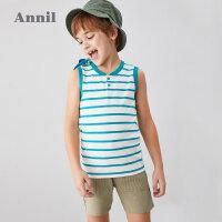 【3件3折价:35.7】安奈儿童装男童背心夏季童装圆领薄2020新款洋气宝宝条纹无袖上衣