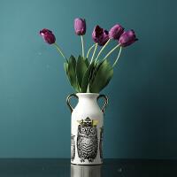 陶瓷花瓶摆件 假花仿真花摆件 插花花艺客厅电视柜玄关装饰品