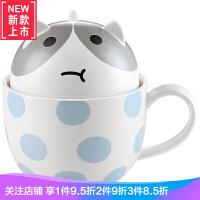陶瓷马克杯带盖勺杯子创意个性潮流可爱超萌卡通猫咪少女心情侣杯