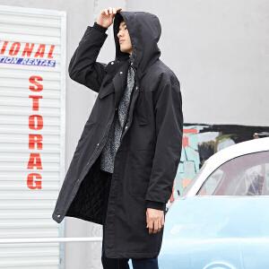 【1件3折价:239.7 折上满300再减30 【森马旗下】GLM男装2018秋冬新款男士外套宽松情侣装时尚潮流连帽中长款男士棉服外套