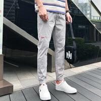 夏季裤子男韩版潮流九分男生运动薄款休闲工装裤潮牌束脚