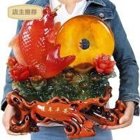 金龙鱼摆件连年有余吉祥物鲤鱼风水工艺品家居客厅饰品平安扣摆设SN6000