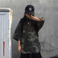 2019新款夏季韩国ins原宿风街头帅气复古迷彩工装衬衫休闲上衣潮 迷彩 均码