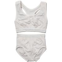 日系文胸套装高弹性无缝无钢收腹提臀瑜咖运动内衣套装白色707580 米白色