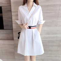 2018女装夏季新款白色衬衫裙V领学院风中长款收腰显瘦打底衬衣春 白色 建议拍小一码