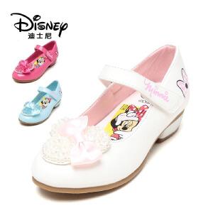 鞋柜/迪士尼甜美蝴蝶结公主鞋钉珠镜面漆皮女童鞋