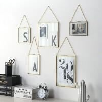轻奢金属黄铜相框 挂墙艺术品植物标本框双面玻璃 创意复古墙面装饰展示画框 金色 黄铜框 带链子
