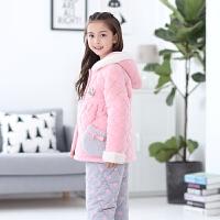 儿童睡衣女童冬季保暖三层夹棉套装女孩子中大童法兰绒家居服