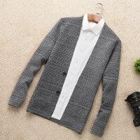 春秋季针织衫长袖男士开衫纯色修身外套韩版休闲男装潮流薄款毛衣