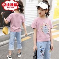 女童套装2019新款夏装洋气韩版时尚儿童装时髦牛仔短裤两件套潮衣