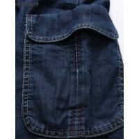 牛仔短裤男夏季薄款七分裤男高腰宽松大码中年男士多口袋工装中裤