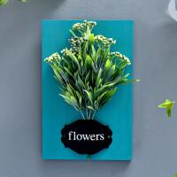 新品墙上装饰品挂件花草挂墙上的花墙面装饰仿真植物花艺创意墙壁挂饰壁挂挂件家居饰品 实木蓝色-茶果