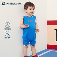 迷你巴拉巴拉婴儿连体衣2020夏季新款男宝宝牛仔小礼服外出连体衣