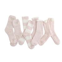 冬季睡眠地板加绒加厚秋冬女士保暖珊瑚绒毛巾袜子四双装地板袜 均码