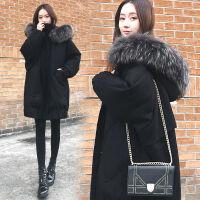 加厚羽绒服女中长款宽松冬季韩版显瘦大毛领蝙蝠袖保暖外套 黑色 XS 99斤以下