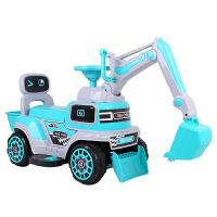 六一儿童节礼物挖土机可坐人儿童挖掘机玩具可坐可骑电动超大大号工程车勾机男玩具挖土机钩机挖机 新款电动滑行蓝色音乐灯光