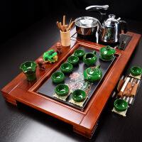 陶瓷功夫茶具套装整套实木茶盘喝茶茶杯茶台中式茶道家用简约