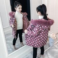 儿童棉衣冬季2018新款中长款加厚波点外套中大童棉服女孩