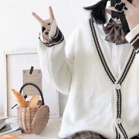 学院风秋冬条纹中长款毛衣开衫女学生韩版宽松百搭针织衫外套
