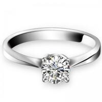 梦克拉 18K金钻石戒指结婚女戒 心随意动 钻戒单戒心形女款50分 可礼品卡购买