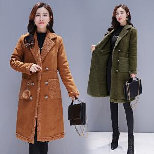 RANJU 然聚2018冬季新品新款女装翻领双排扣韩版仿皮毛一体加厚加绒仿羊羔毛大衣